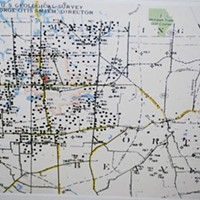 This map shows the area around the Henry Farm. The black dots indicate sites of abandoned oil and gas wells.
