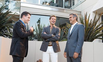 Three of a kind: Matt Damon, Brad Pitt and George Clooney rig another casino.