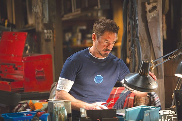 Tony Stark (Robert Downey Jr.) takes a desk job.