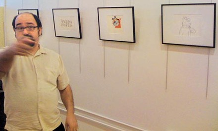 Toonseum director Joe Wos in the new gallery.