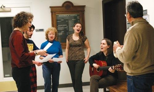 Traditional folk tunes help Copihue Chile strike a respectful balance: L-R Dorolyn Smith, Agustn Cruz, Margaret Urza, Marcela Marn, Emily Pinkerton and Pablo Espinoza - HEATHER MULL