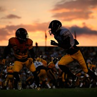 Tevin Jones is defended by Coty Sensabaugh as the sun sets during training camp at Latrobe Memorial Stadium on Fri., Aug. 3, 2018 in Latrobe, Pennsylvania.