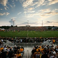 Pittsburgh Steelers fans pack Latrobe Memorial Stadium.