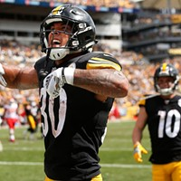 James Conner celebrates his two-point conversion against the Chiefs.