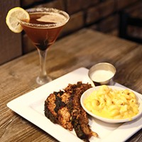 19-hour smoked brisket, macaroni and cheese, and raspberry martini at Bloomfield's Sugar and Smoke