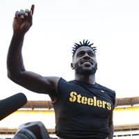 AB gestures to the fans following their 41-17 win against the Falcons.