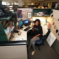 Jordan at her desk.