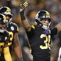 Conner celebrates his touchdown against the Panthers.