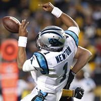 Cam Newton is sacked by T.J. Watt.