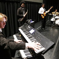 Members of Funky Fly Project sound check at the August Wilson Center on Sat., Nov. 10.