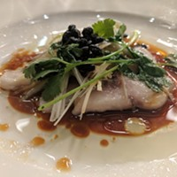 Wild suzuki fish, ginger, cilantro, and fermented black beans