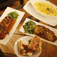 Pork belly, sirloin steak, macaroni and cheese, and an assortment of pizza at PA Market