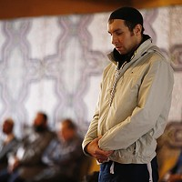 Members of the Islamic Center of Pittsburgh pray during service.