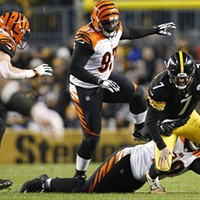 Ben Roethlisberger is sacked in the first half against the Bengals.