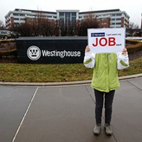 A Chinese woman lost her job at Westinghouse in Shanghai, so she flew all the way to Cranberry to ask for it back