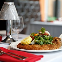 The Vitello Milanese (pan-fried veal chop).