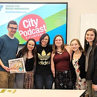 Pittsburgh comedian and CP contributing writer Gab Bonesso with students from Norwin and North Hills High Schools