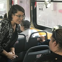State Rep. Sara Innamorato held a transit town hall on a public bus