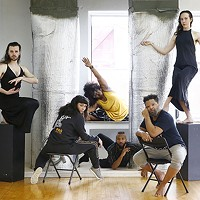 newMoves dancers (L-R) inside the KST Alloy Theater: Taylor Knight, Jessica Marino, Staycee Pearl, Trevor C. Miles, Nick Daniels, and Anna Thompson