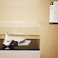 Zaha Hadid's model for the Heydar Aliyev Center, displayed at the Carnegie Museum of Art