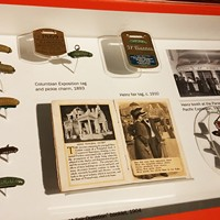 The pin throughout the years, displayed at the Heinz History Center