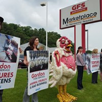 Animal rights group protests local GFS location