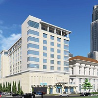 Artist's rendering of the planned hotel addition to the Pittsburgh Athletic Association, in Oakland (the version recently approved by the city's Planning Commission). The view is from Bigelow Avenue near Fifth.