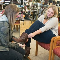 Employees Lynn Celovsky and Jessica Garland at Best Local Shoe Store Littles Shoes