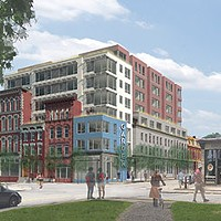 Project rendering for TREK Develepment's proposed residential building on North Street at Federal.