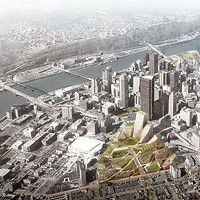 Rendering of an aerial view of the Lower Hill redevelopment plan