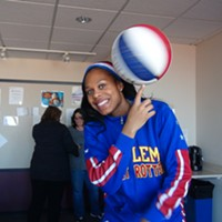 Harlem Globetrotter stops by Steel City Media in Pittsburgh to do some tricks