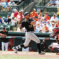 Francisco Cervelli at bat during a spring-training game against the Orioles