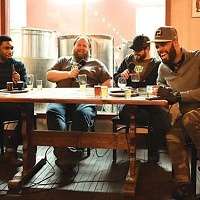 Drinking Partners podcast co-host Ed Bailey (left) with Reclamation Brewing Co. co-owners Ben Smith and Ben Duncan and co-host Day Bracey, in February