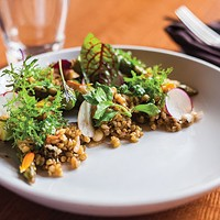 Asparagus, with freekeh, ramp-kimchi vinaigrette, radish, tarragon and greens