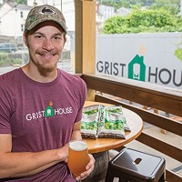 Kyle Mientkiewicz, head brewer at Millvale's Grist House Craft Brewery, with a Hop Yeti