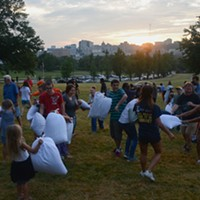 More than 100 gather in Pittsburgh's Schenley Park for a giant pillow fight