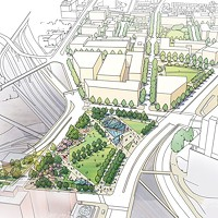 "Bad idea: LaQuatra Bonci Associates' work-in-progress sketch of an aerial view of the proposed park to ""cap"" I-579 in the Lower Hill District"