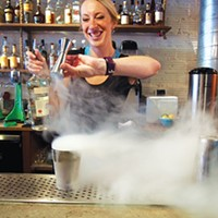 Hidden Harbor's Sarah Clarke mixes up a cocktail with dry ice.