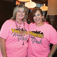"Cancer survivors Kimberly Booher and Laura McCurdy from the American Cancer Society at the ""Real Men Wear Pink"" podcast event"
