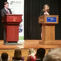 Erin McClelland and Keith Rothfus during a debate at Penn State Beaver Oct. 6.