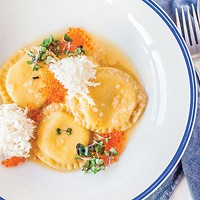 Goat's milk and acorn squash ravioli with lion's head mushrooms and trout roe