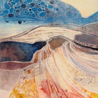 """Desert Cranes,"" a hand-colored intaglio monoprint by Elizabeth Claire Rose"