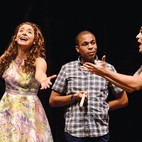 Left to right: Mary Elizabeth Drake, Jason Shavers and Jamen Nanthakumar in <i>The Fantasticks</i>, at Pittsburgh Public Theater