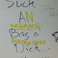 Bathroom graffiti at Gus's in Lawrenceville.