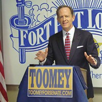 Pat Toomey at an October campaign press conference in Beechview