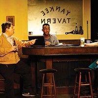 Left to right: Bob Rak, Malic Williams and Ursula Asmus Sears in <i>Yankee Tavern</i>, at Throughline Theatre
