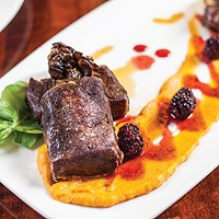 Beef Butcher's Roast with wild mushroom, root-vegetable purée and natural jus