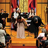 Striking members of the Pittsburgh Symphony Orchestra perform a show  at Rodef Shalom Temple in Oakland.