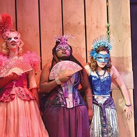 From left: Hanna Berggren, Arica Jackson and Victoria Pedretti in CMU Drama's <i>The Rover</i>