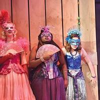 From left: Hanna Berggren, Arica Jackson and Victoria Pedretti in CMU Drama's <i>The Rover</i>